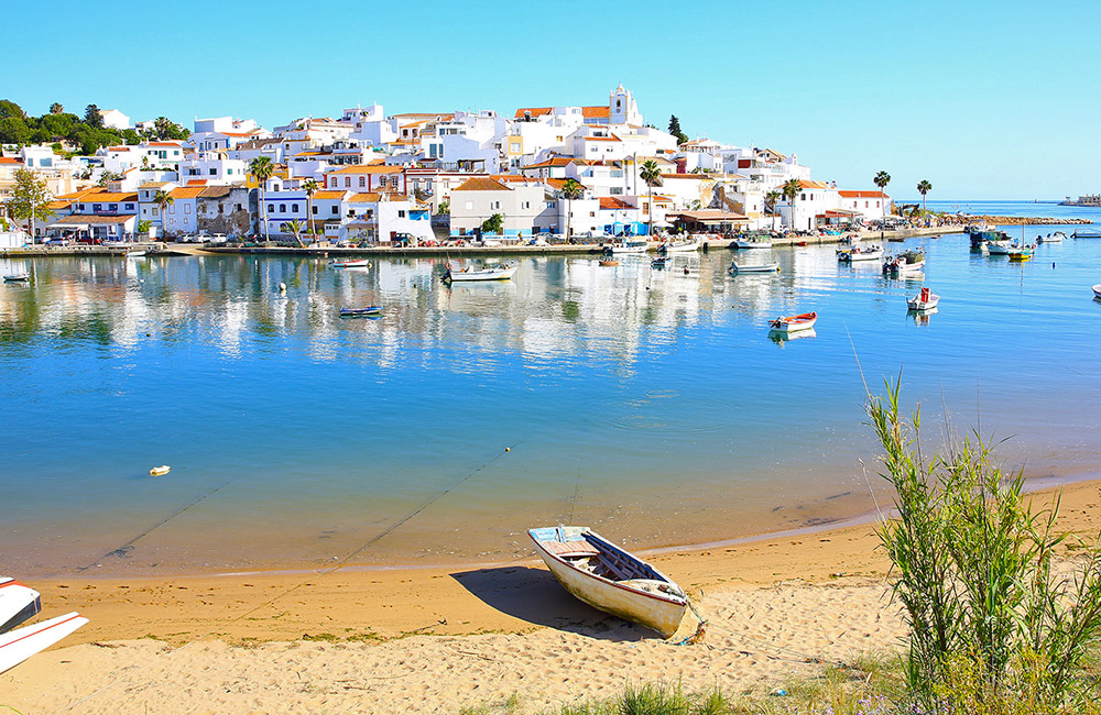 View of Ferragudo town across the river