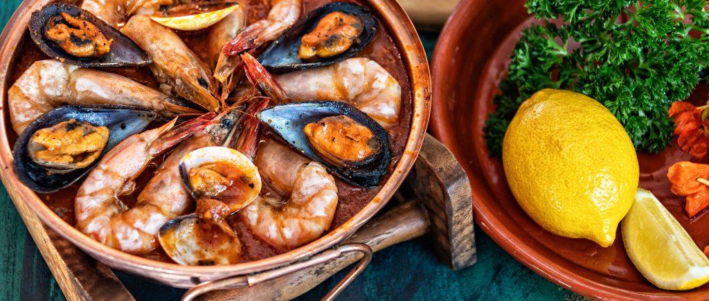 Cataplana dish with shrimp