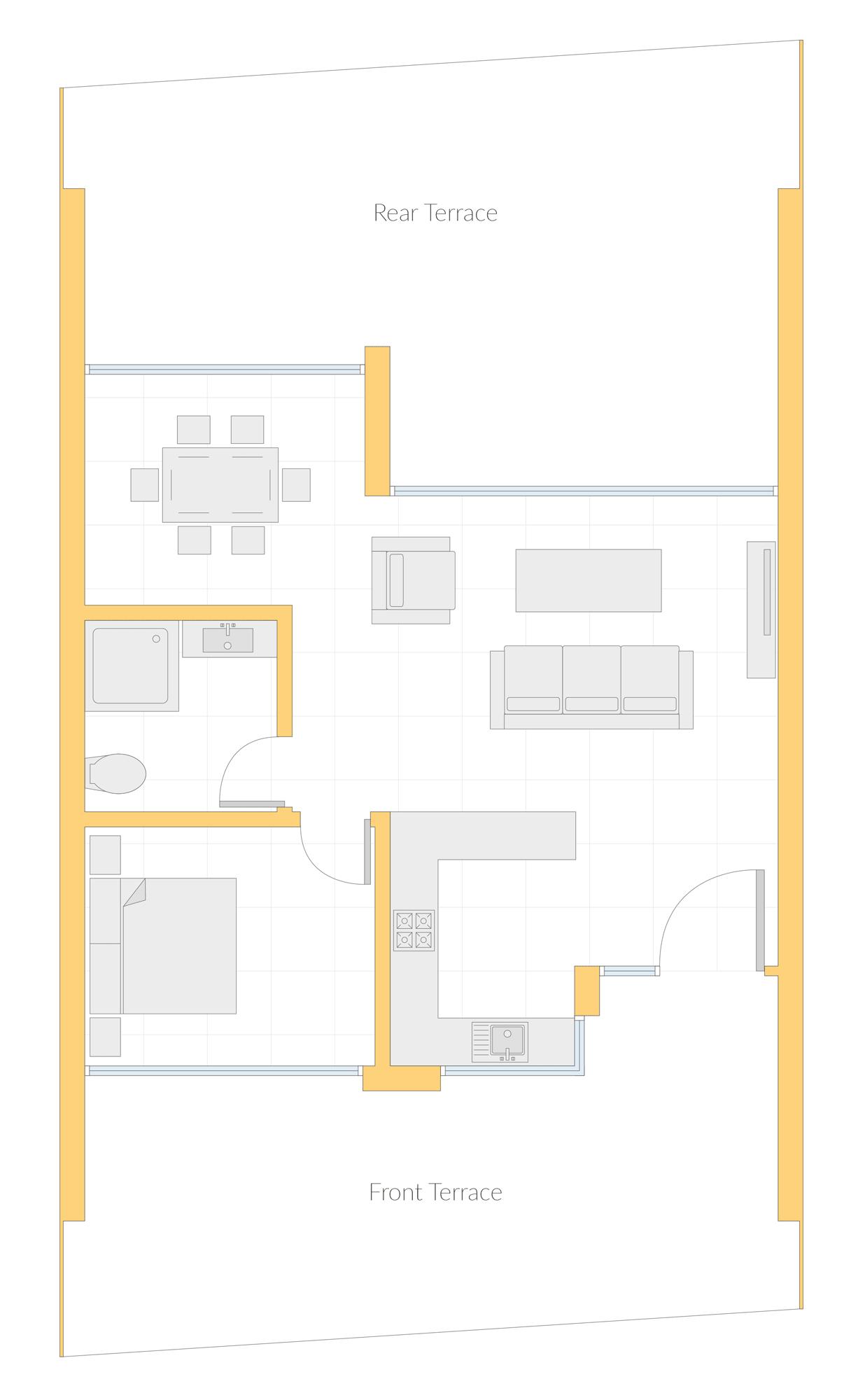 Floorplan of one bedroom property in the Algarve at Quinta Heights