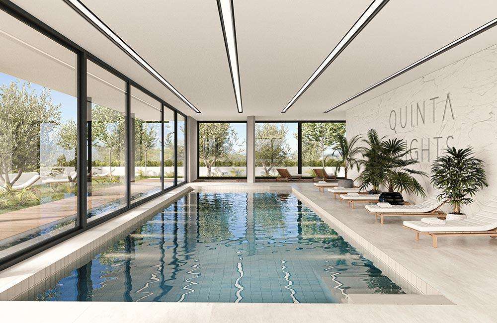Indoor pool & sun loungers in Mediterranean setting